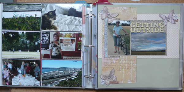 On the left the final page of photos; on the right the first of two layouts made celebrating a January theme.